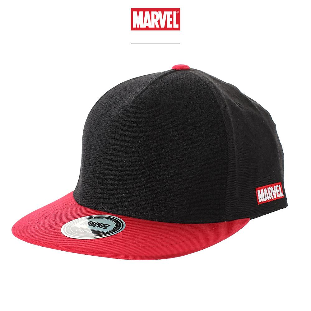 마블 스냅백 모자 블랙레드